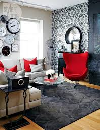 modern red black and grey living room