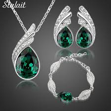 wholes bridal jewelry set austrian crystal fashion leaf tear feather water drop pendant necklace earrings jewelry sets jewelry market
