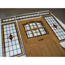 1930 s edwardian original stained glass exterior door 9 panel red amber