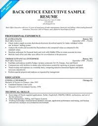 Back Office Resumes Resume Sample Executive Example Of Format