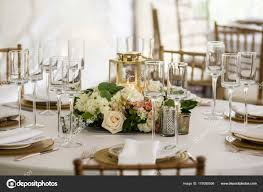 Reception Table Set Up Table Set Wedding Reception Tent Stock Photo Wollwerth