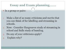 revsision and streaming and labelling in the classroom essay  7 essay and exam planning