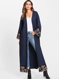 Shop <b>Flower Embroidered</b> Hidden Pocket Detail Belted <b>Abaya</b> ...