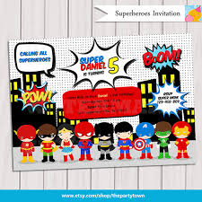 superheroes party invites super hero birthday party pop art superhero invitation