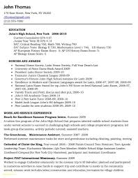 College Student Resume Template For Internship New High School Job