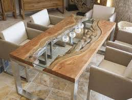 Lovable Wooden Table Design Wood Slab Dining Table Designs Glass Wood Metal  Modern Dining Room