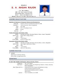 Fresher Resume Sample Example Cv Resume Format India Resume For