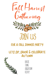 Fall Invitation Fall Harvest Party Invitation Printable Gather For Bread