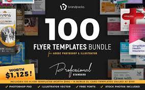 Buy Brochure Templates 100 Flyer Templates Bundle Psd Ai Vector Brandpacks