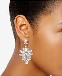 lyst badgley mischka rose gold tone crystal chandelier earrings in metallic