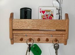 Wood Shelf Key Hook Holder Wall Hanging Oak Magictowelholder