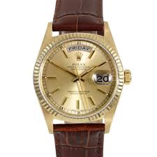 pre owned rolex mens yellow gold day date president watch pre owned rolex mens yellow gold day date president watch champagne stick dial
