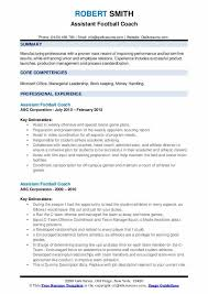 Football Coaching Resume Template Assistant Football Coach Resume Samples Qwikresume