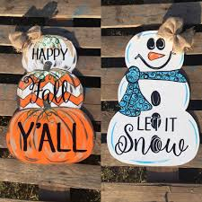 sold out september 27th reversible door hanger pumpkins snowman in beaver pa placefull