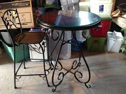 wrought iron pub glass round table 4 chairs mainstays pyros 5 piece patio conversation