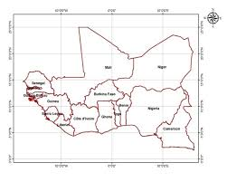 Map Of West Of Africa Showing The Latitude And Longitude Of