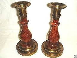 2 old enesco classic solid brass wood candle holders made in india