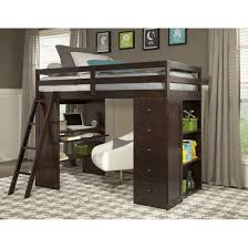 dark wood full size loft bed with desk and built in storage drawers plus bookshelves