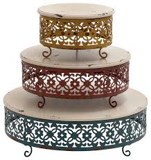 wood metal cake stand 16 12 9 w 3 piece set transitional dessert and cake stands by gwg