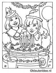 Kleurplaat Verjaardag Kleuterideenl Jarig Birthday Coloring