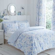 charlotte thomas amelie fl toile piped duvet cover set blue double linens limited