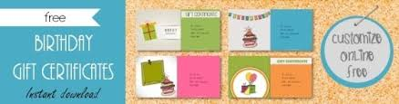 Customized Gift Certificates Free Birthday Gift Certificate Template