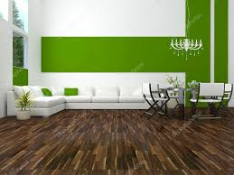 White And Green Living Room Interior Design Of Modern Green Living Room Stock Photo