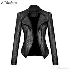 2018 fashion women jackets long sleeve motorcycle coats las slim fitted zip up plus size outwear lapel pu leather biker jacket black sv008872 from u king