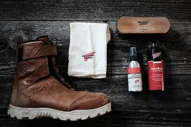 to start you will need to gather your boots a soft towel horse hair brush red wing naturseal leather protector and a small bowl of warm water