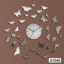 acrylic 3d home décor erfly mirror decorative diy wall clock lasercraft