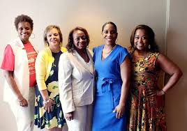 State Rep. Sonya Harper (right) with state Rep. Camille Lilly, U.S. Rep.  Robin Kelly, state Sen. Mattie Hunter, and Lt. Gov. Juliana Stratton (left  to right). | Illinois House Democratic Caucus