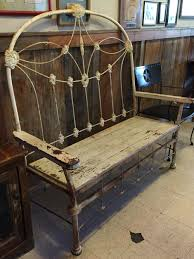 Headboard To Bench Antique Iron Bed Reclaimed Wood Made Into A Bench