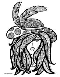Lady In Hat Coloring Page Color Me Beautiful Coloring Pages