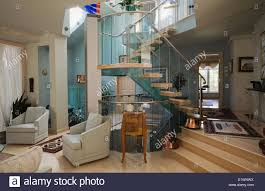 Living Room Chairs Canada Living Room Chairs Next To The Glass Metal Wood Staircase Inside A