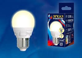 <b>Лампочка Uniel LED</b>-G45 7W/WW/E27/FR, Теплый свет <b>7 Вт</b> ...