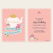 Tea Party Invitations Teapot And Cupcake