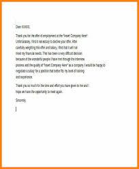 Decline A Job Offer Sample Letter Rejection Job Offer Due To Salary