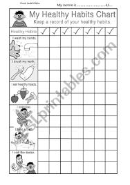 Chart On Healthy Habits My Healthy Habits Chart Esl Worksheet By Anoosa