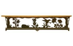 34 hummingbird scene metal towel bar with pine wood top wall shelf