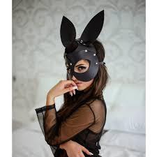 rabbit mask masquerade rabbit mask black leather mask bunny image 0