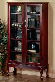 traditional bookcases furniture traditional 6 shelf bookcase with glass doors in queen style with cherry finish