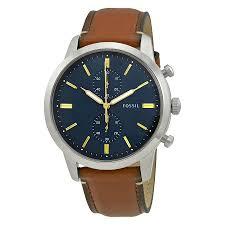 fossil townsman blue dial men s chronograph watch