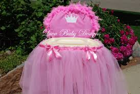 pink high chair cover high chair tray tutu tulle skirt pink and white crown long