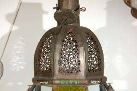 hand carved moroccan vintage moorish glass lantern from marrakech for