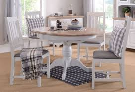georgia grey painted round pedestal dining set with 4 chairs 110cm 145cm