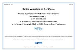 Volunteer Certificate United Nations Online Volunteering Certificate