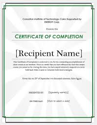 Certificate Of Completeion Certificate Of Completion Wording Templates Formal Word