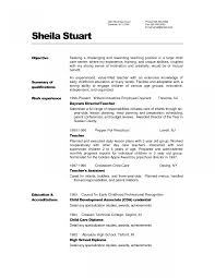 Example Infant Teacher Resume Templates Studentcher Samples For
