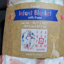 Baby Growth Chart New Girl Newborn Blanket Frame Nwt