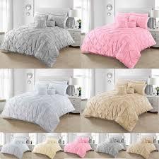 details about pintuck duvet cover sets pillowcases double super king single size bedding quilt